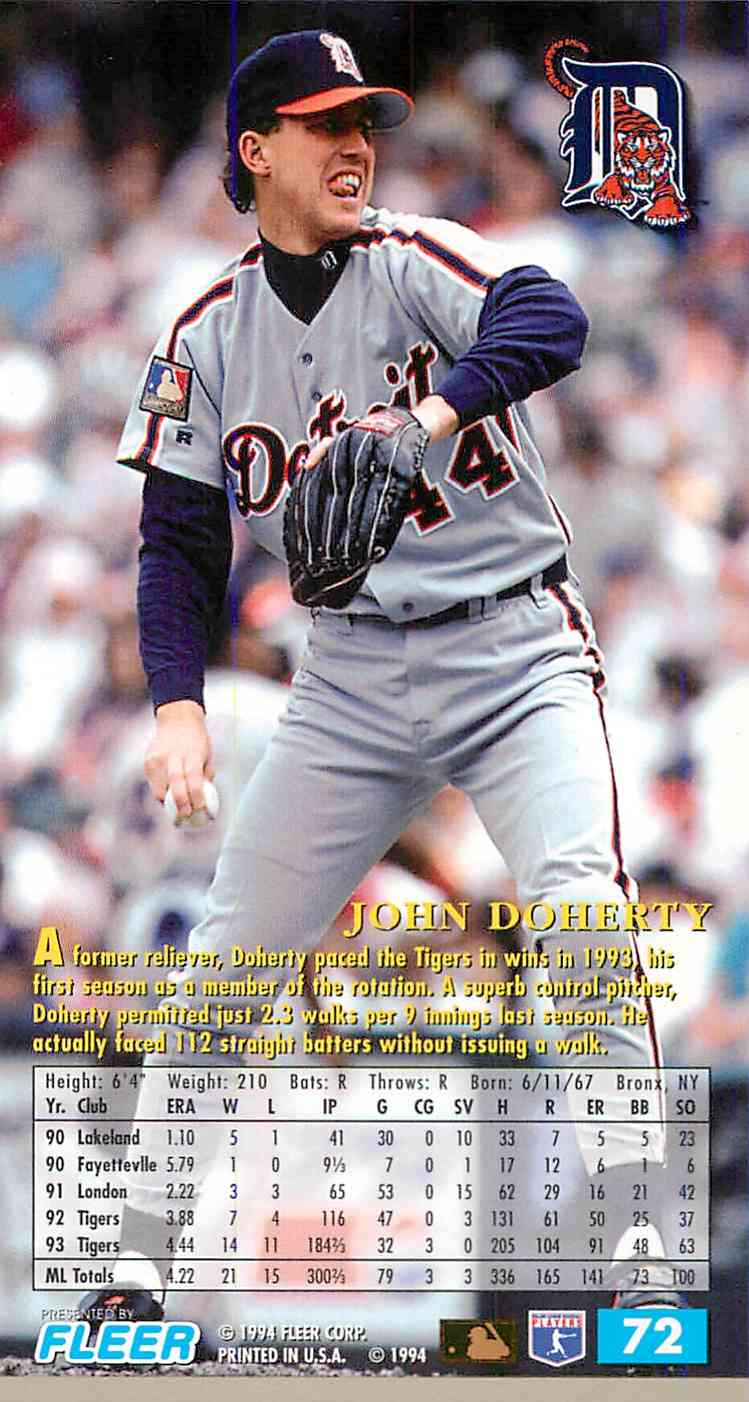 1994 Fleer Extra Bases John Doherty #72 card back image