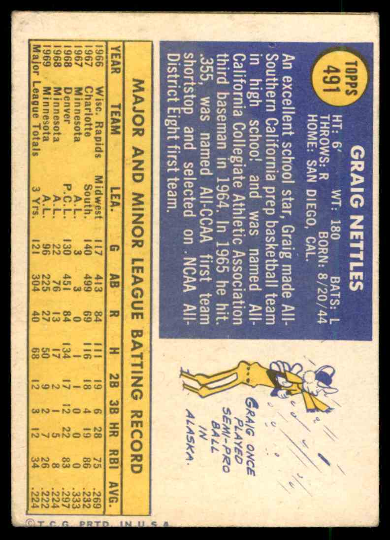 1970 Topps Graig Nettles #491 card back image