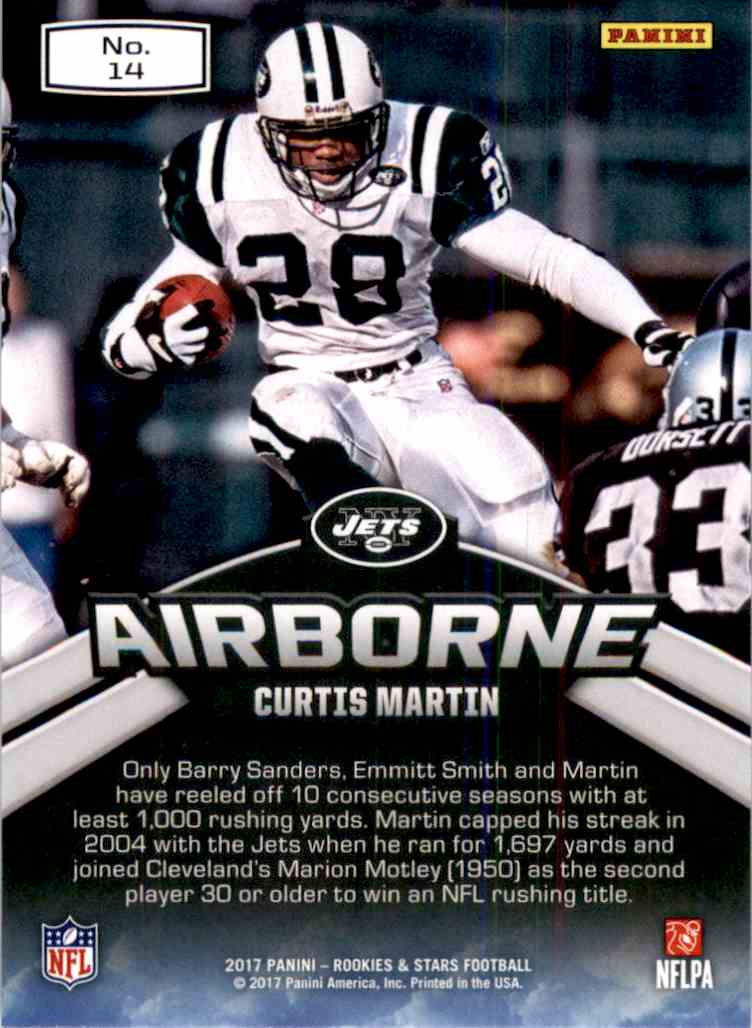 2017 Rookies And Stars Airborne Curtis Martin #14 card back image