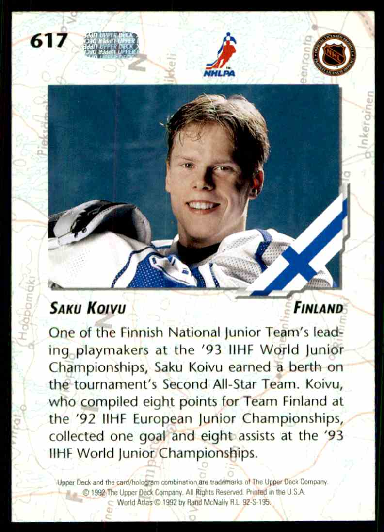 1992-93 Upper Deck Saku Koivu #617 card back image