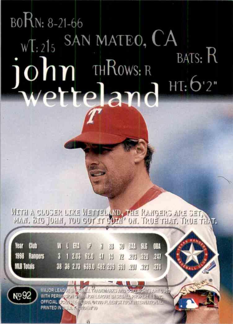 1999 SkyBox Thunder John Wetteland #92 card back image