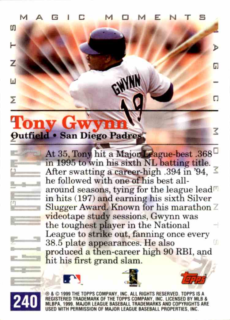 2000 Topps Magic Moments 1995 Batting Title Tony Gwynn #240 card back image