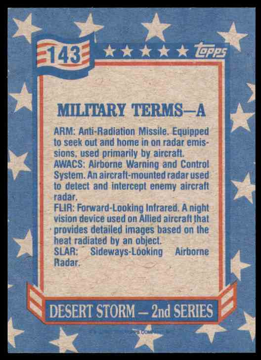 1991 Desert Storm Topps Military Terms - A #143 card back image