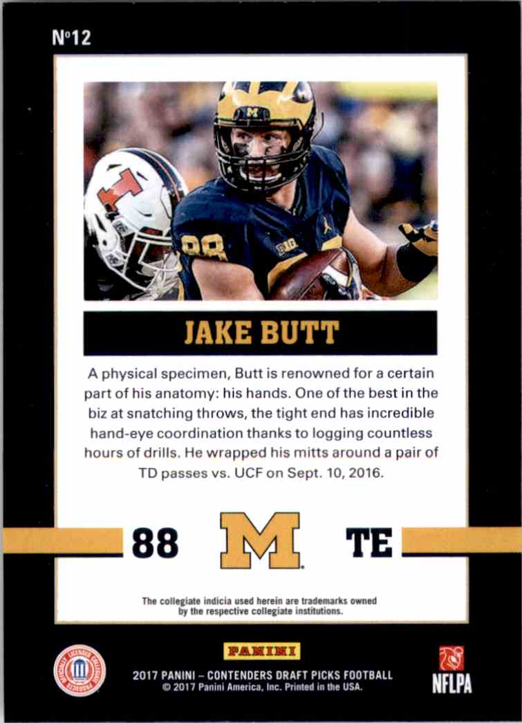 2017 Panini Contenders Draft Picks School Colors Jake Butt #12 card back image