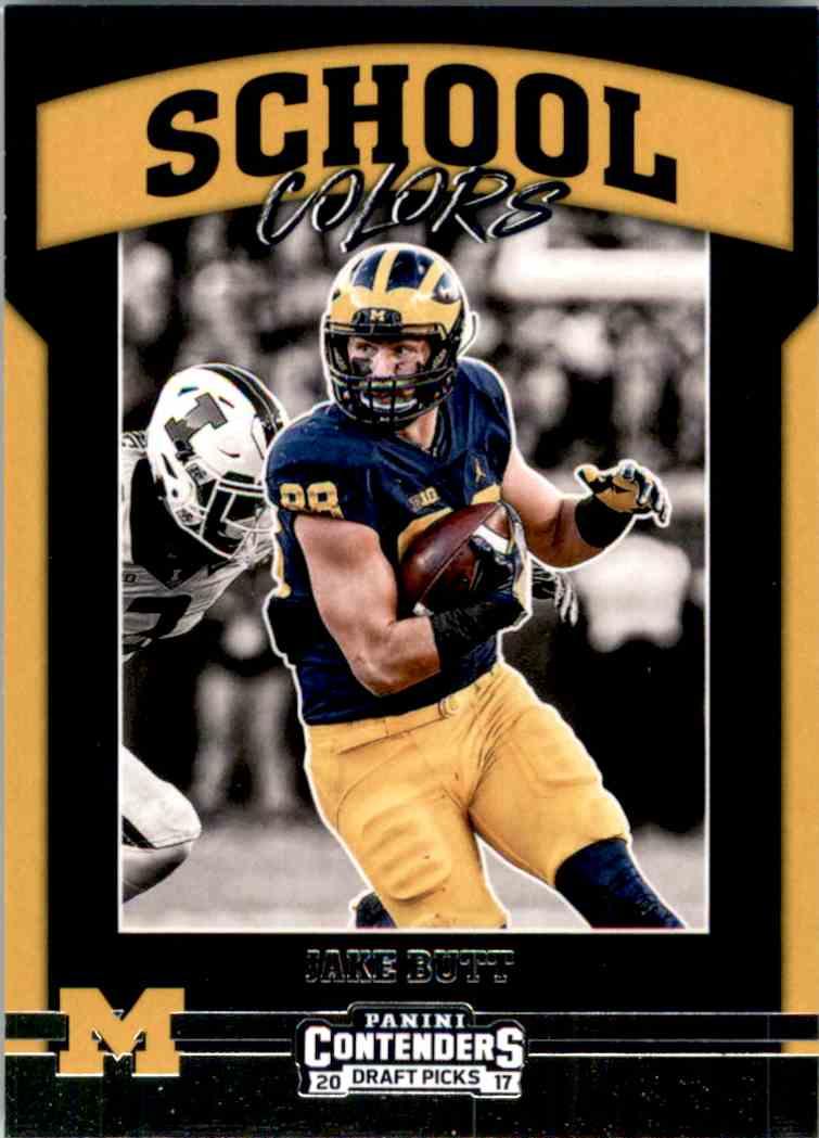 2017 Panini Contenders Draft Picks School Colors Jake Butt #12 card front image
