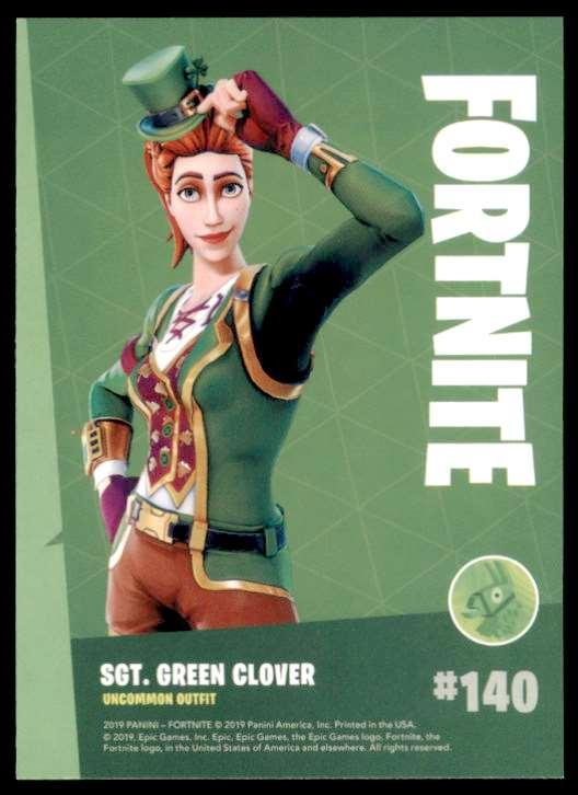 2019 Fortnite Series 1 Sgt. Green Clover U #140 card back image