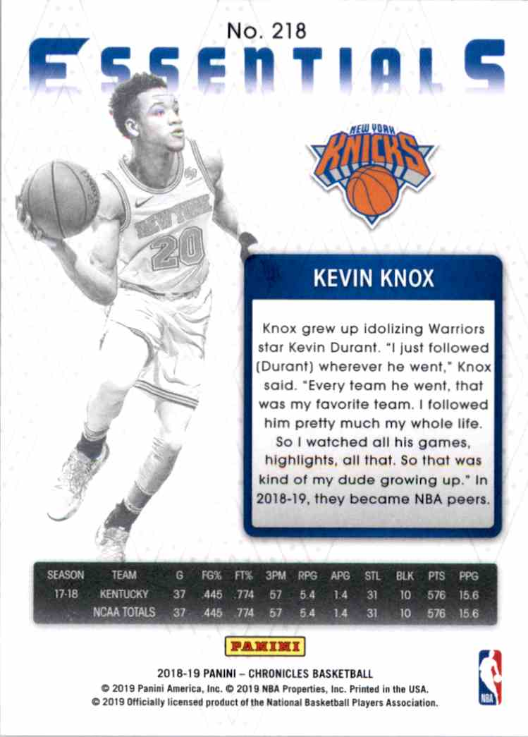 2018-19 Panini Chronicles Green Kevin Knox/Essentials #218 card back image