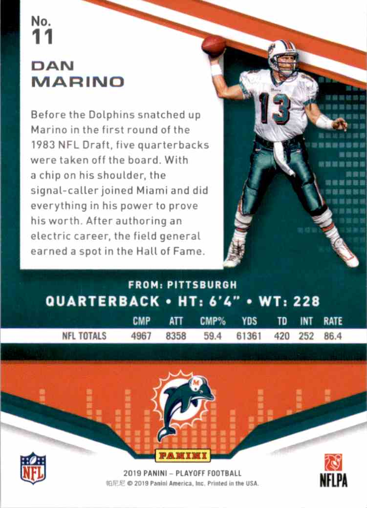 2019 Playoff Dan Marino #11 card back image