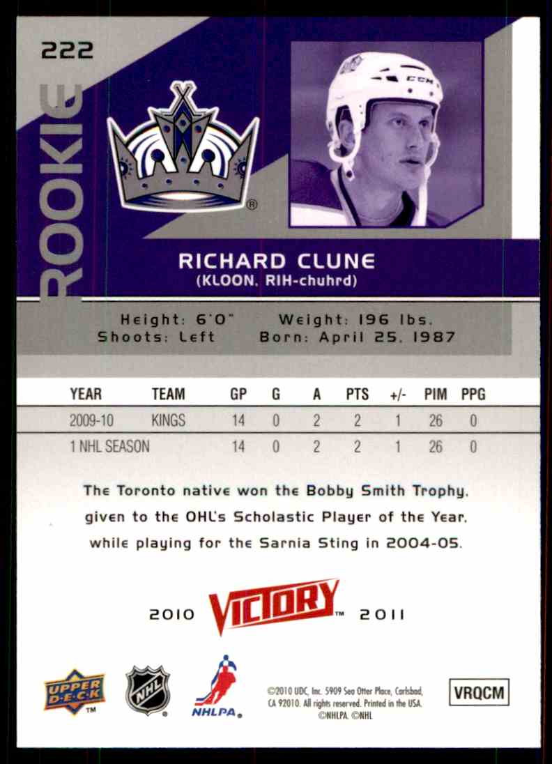 2010-11 Upper Deck Victory Rookie Richard Clune #222 card back image