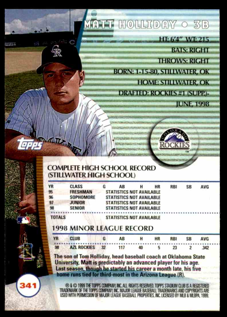 1999 Topps Stadium Club Matt Holliday #341 card back image