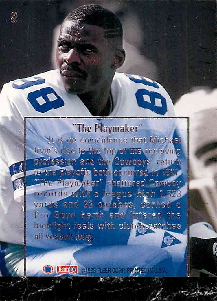 1993 Fleer Ultra Michael Irvin #8 card back image