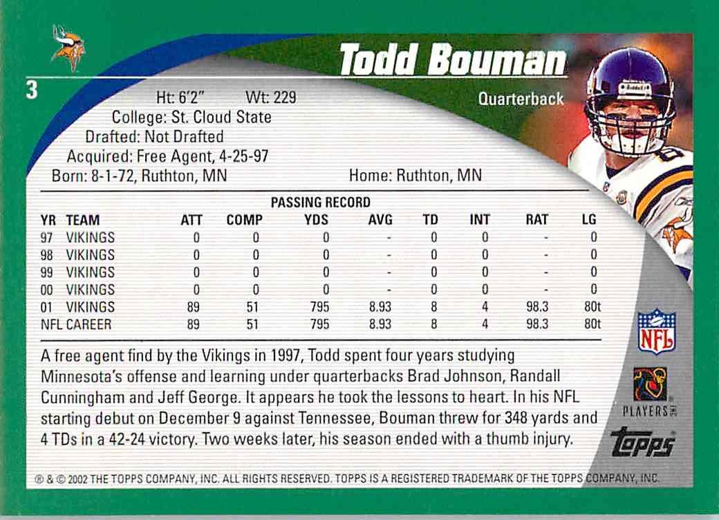 2002 Topps Todd Bouman #3 card back image