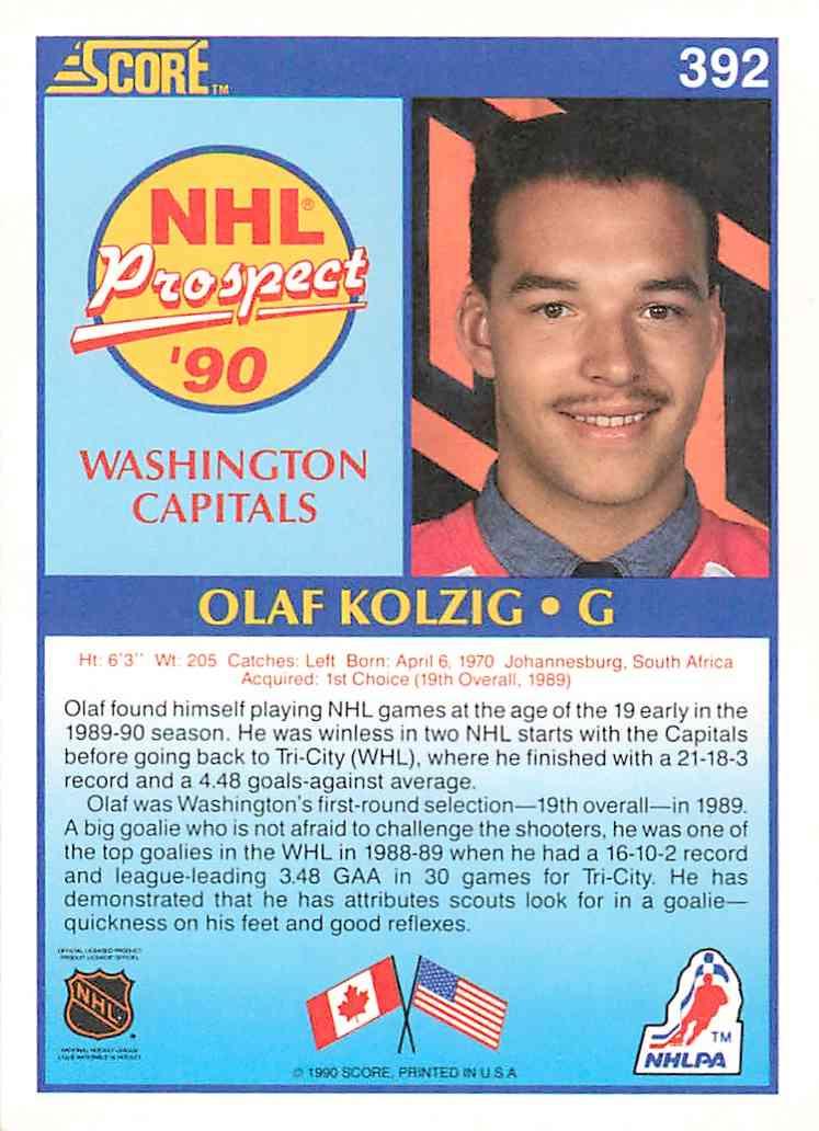 1990-91 Score Olaf Kolzig #392 card back image