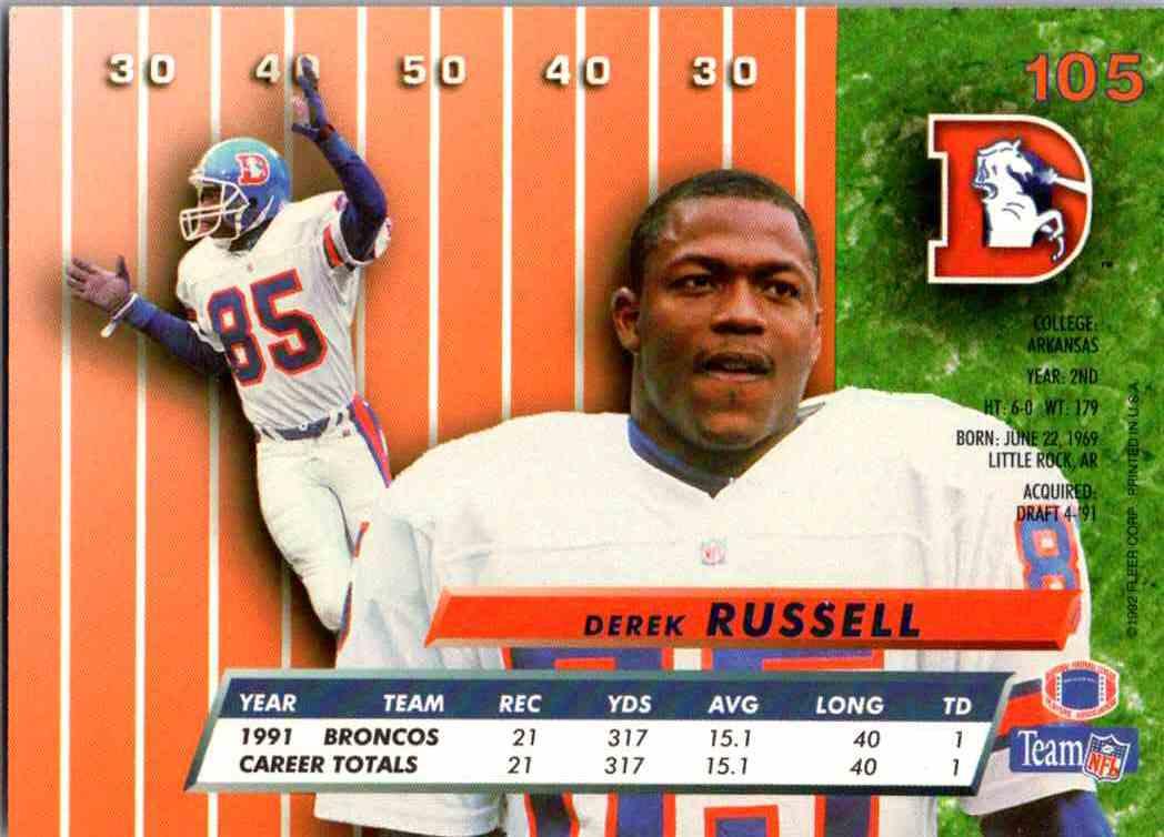 1992 Fleer Ultra Derek Russell #105 card back image