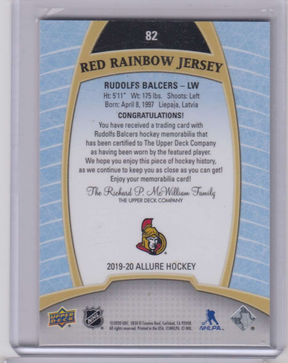 2019-20 Upper Deck Allure Jerseys Red Rainbow Rudolfs Balcers #82 card back image