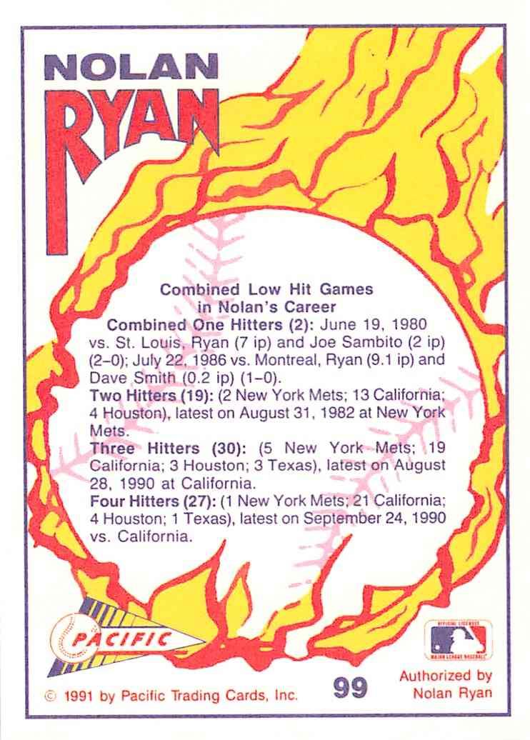 1991 Pacific Texas Express Nolan Ryan #99 card back image