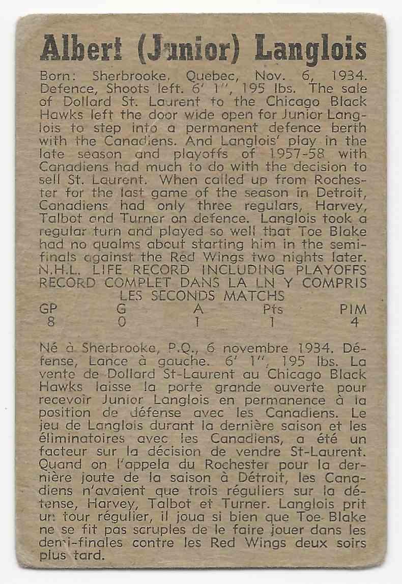 1958-59 Parkhurst Albert Langlois #5 card back image