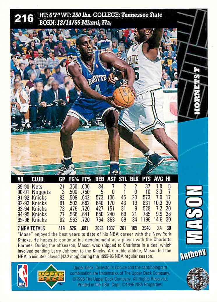 1996-97 Collector's Choice Anthony Mason #216 card back image
