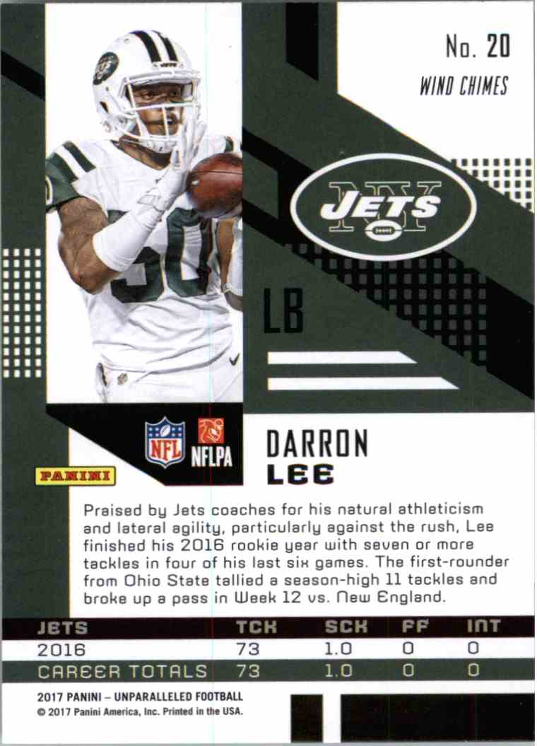 2017 Panini Unparalleled Wind Chimes Darron Lee #20 card back image