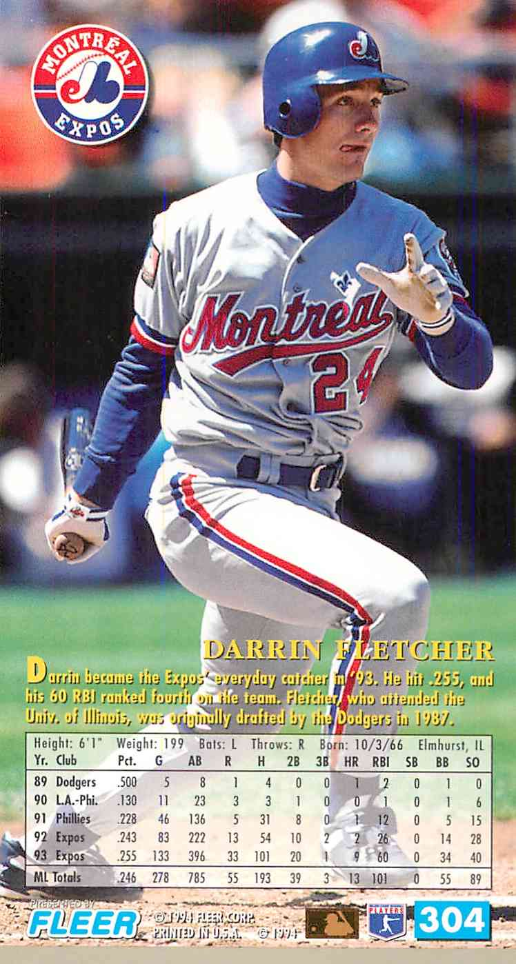 1994 Fleer Extra Bases Darrin Fletcher #304 card back image