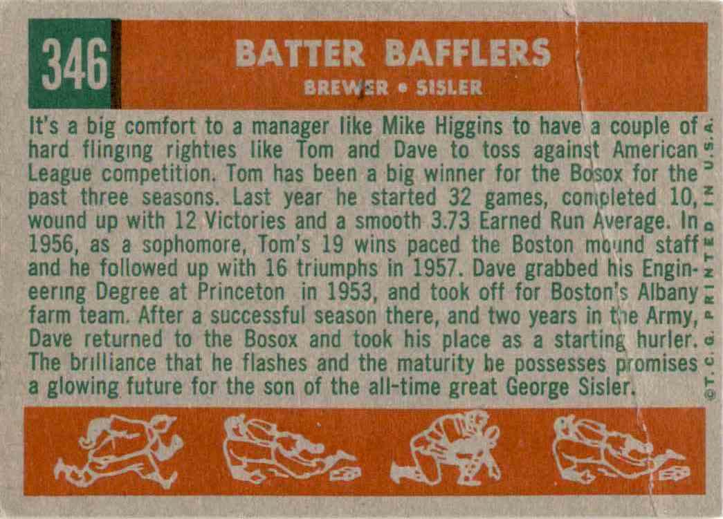 1959 Topps Batter Bafflers/Dave Sisler/Tom Brewer #346 card back image