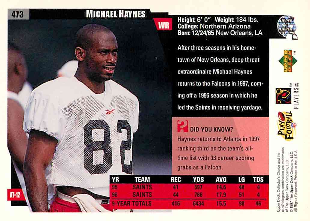 1997 Collector's Choice Michael Haynes #473 card back image