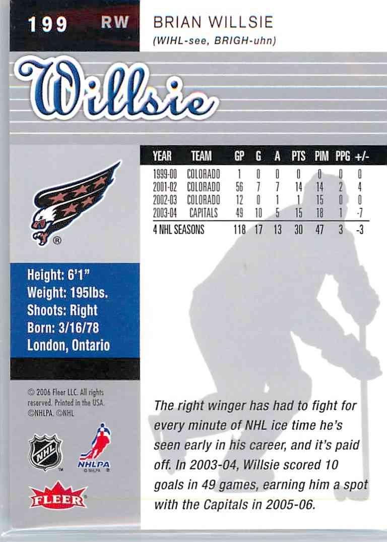 2005-06 Ultra Brian Willsie #199 card back image