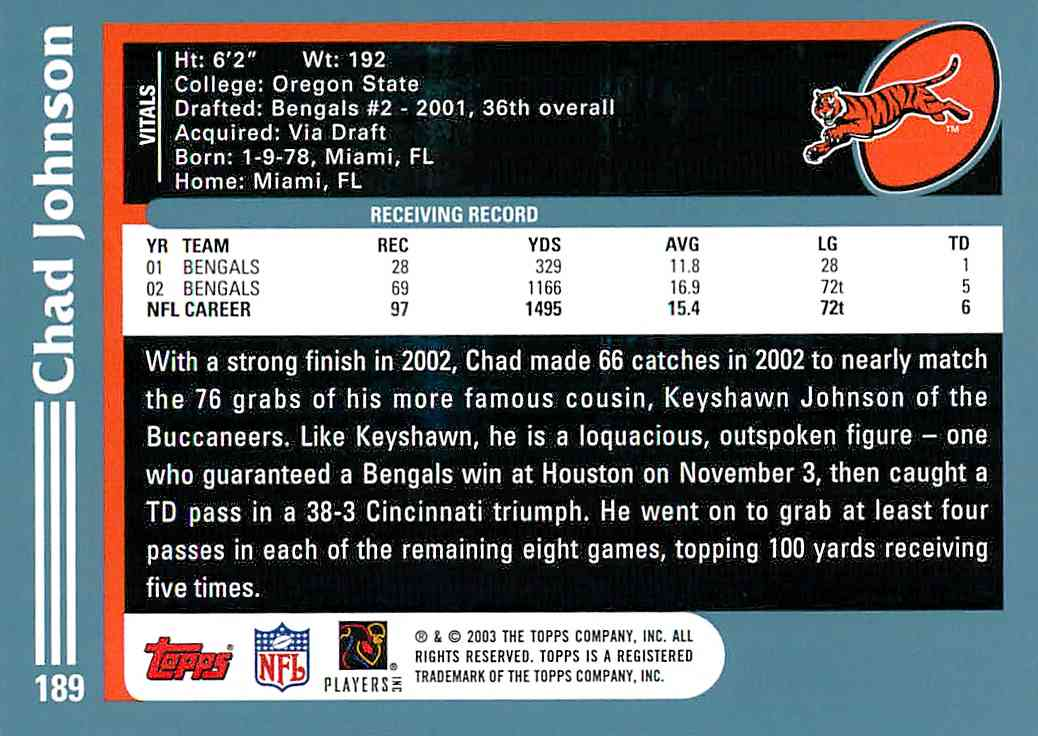 2003 Topps Chad Johnson #189 card back image