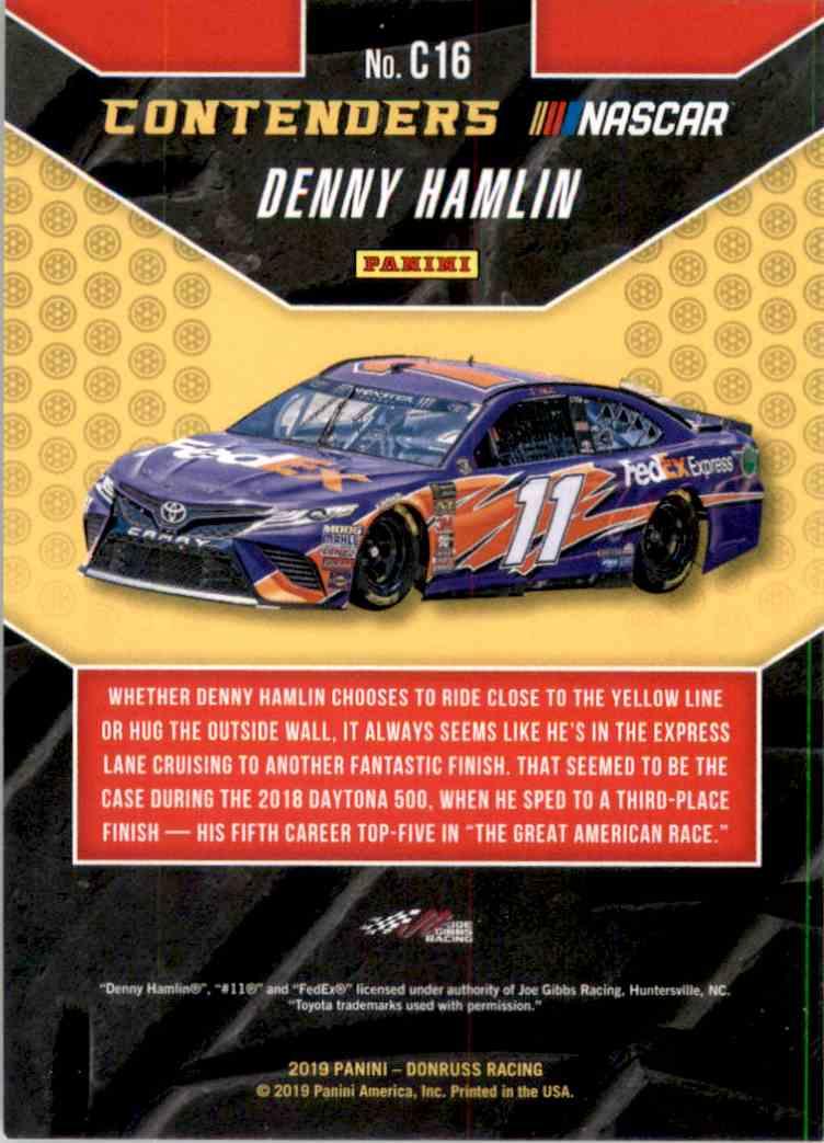 2019 Donruss Contenders Denny Hamlin #C16 card back image