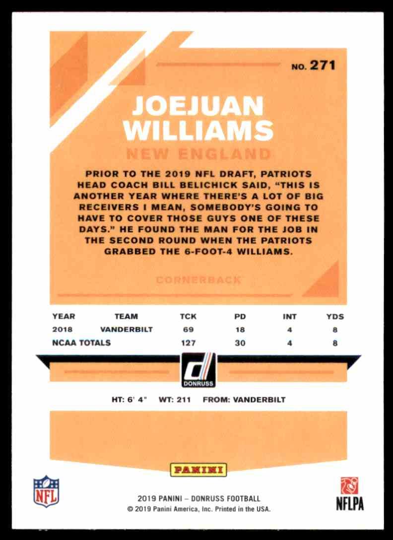 2019 Donruss Joejuan Williams RC #271 card back image