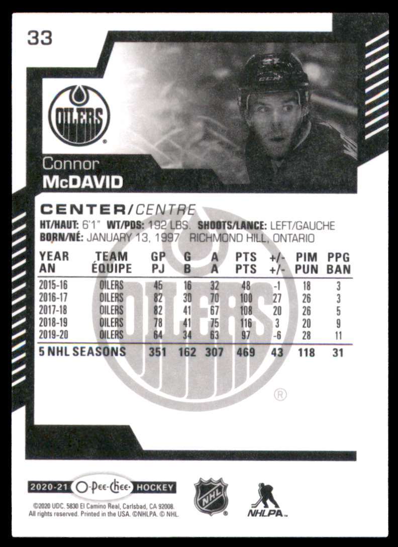 2020-21 O-Pee-Chee Connor McDavid #33 card back image