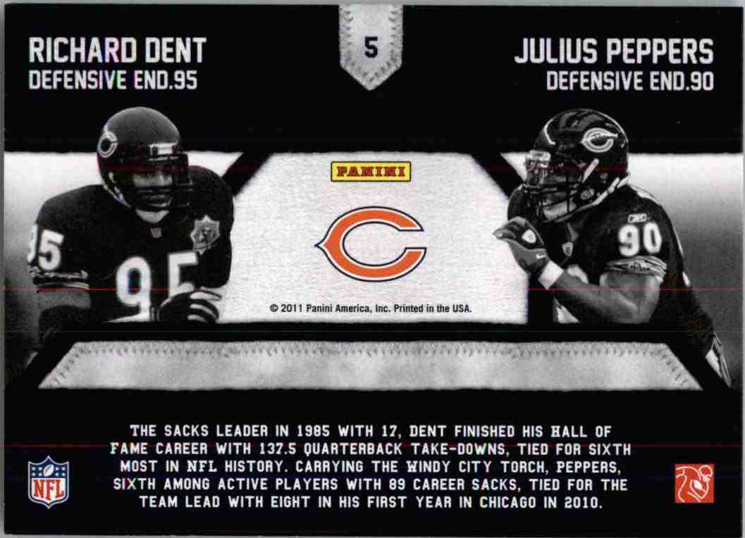 2011 Panini Threads Generations Richard Dent, Julius Peppers #5 card back image