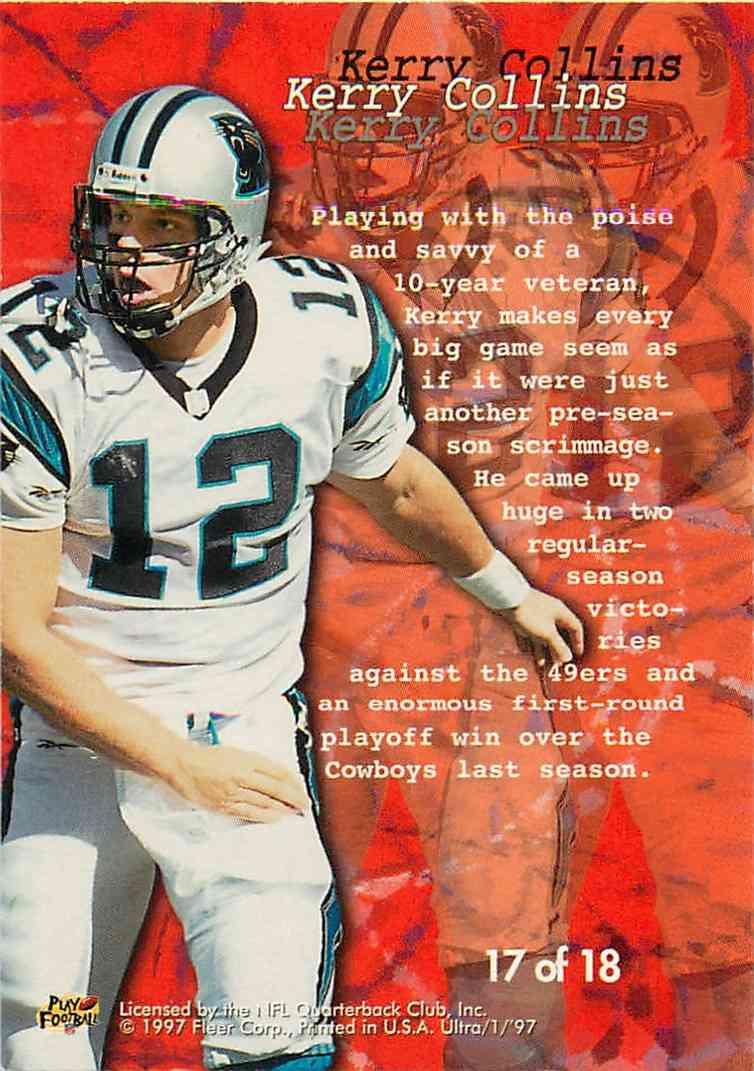 1997 Fleer Ultra Kerry Collins #17 card back image