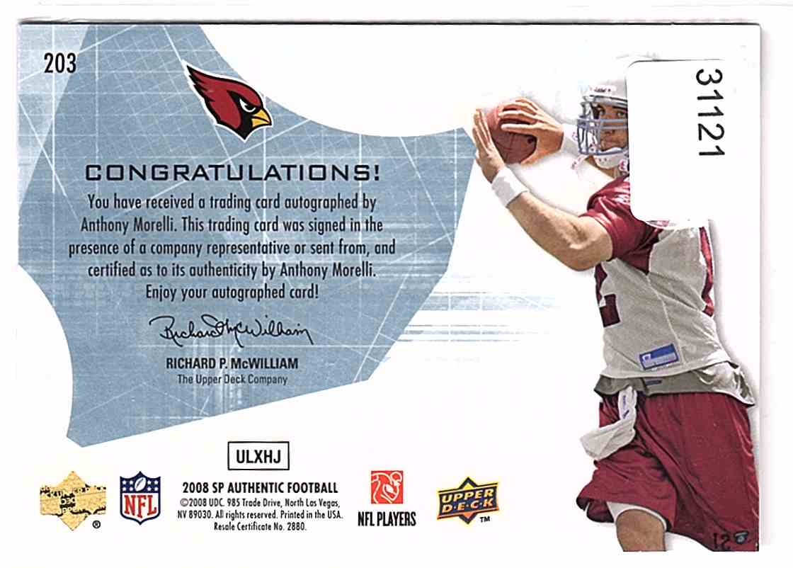2008 SP Authentic Anthony Morelli #203 card back image