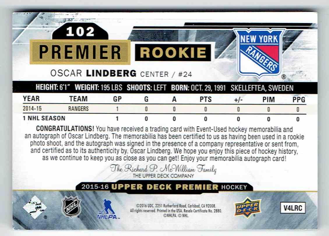 2015-16 Upper Deck Premier Rookie Patch Auto Oscar Lindberg #102 card back image