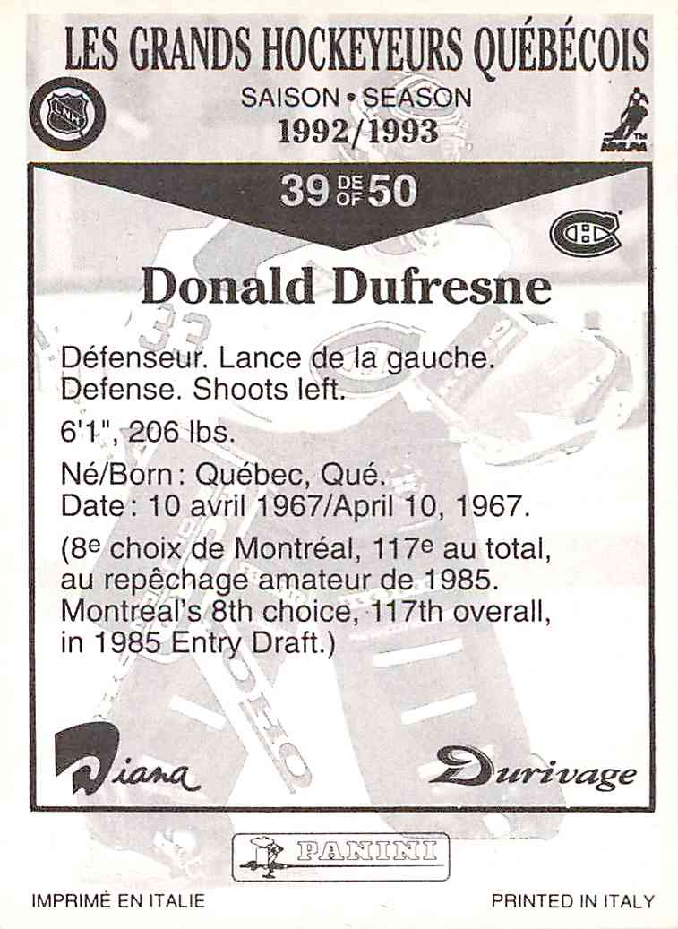 1992-93 Durivage Donald Dufresne #39 card back image