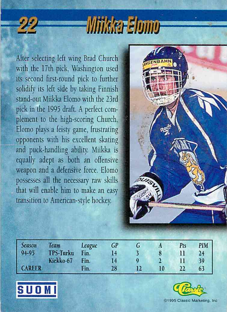 1995-96 Classic Gold Miikka Elomo #22 card back image