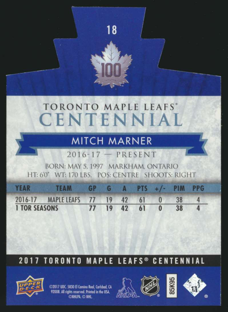 2017-18 UD Maple Leafs Centennial Die Cut Mitch Marner #18 card back image