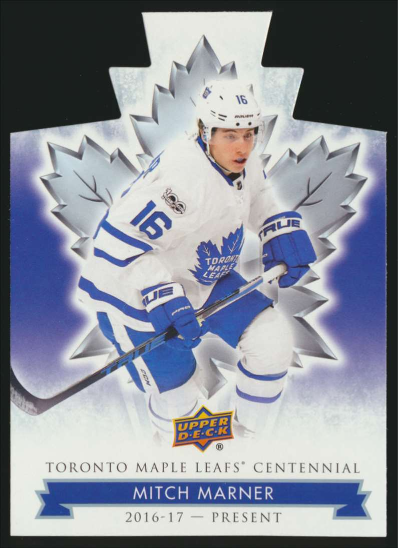 2017-18 UD Maple Leafs Centennial Die Cut Mitch Marner #18 card front image