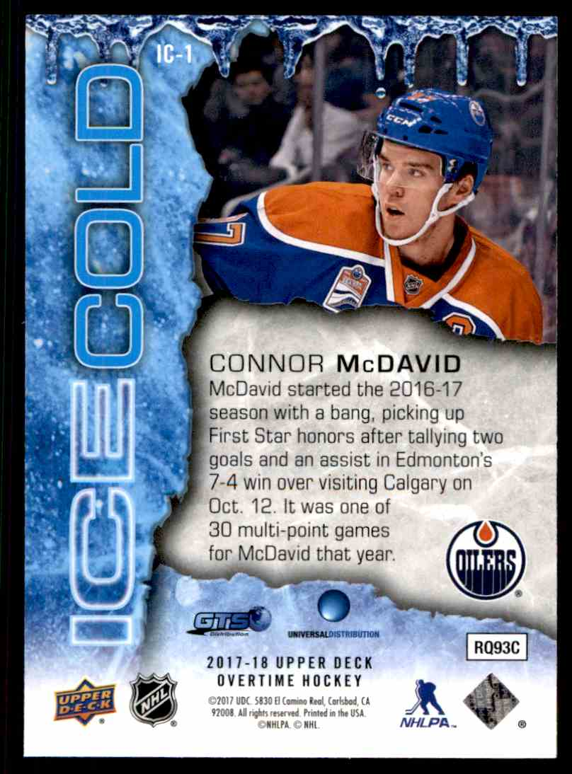 2017-18 Upper Deck Overtime Ice Cold Connor McDavid #IC-1 card back image