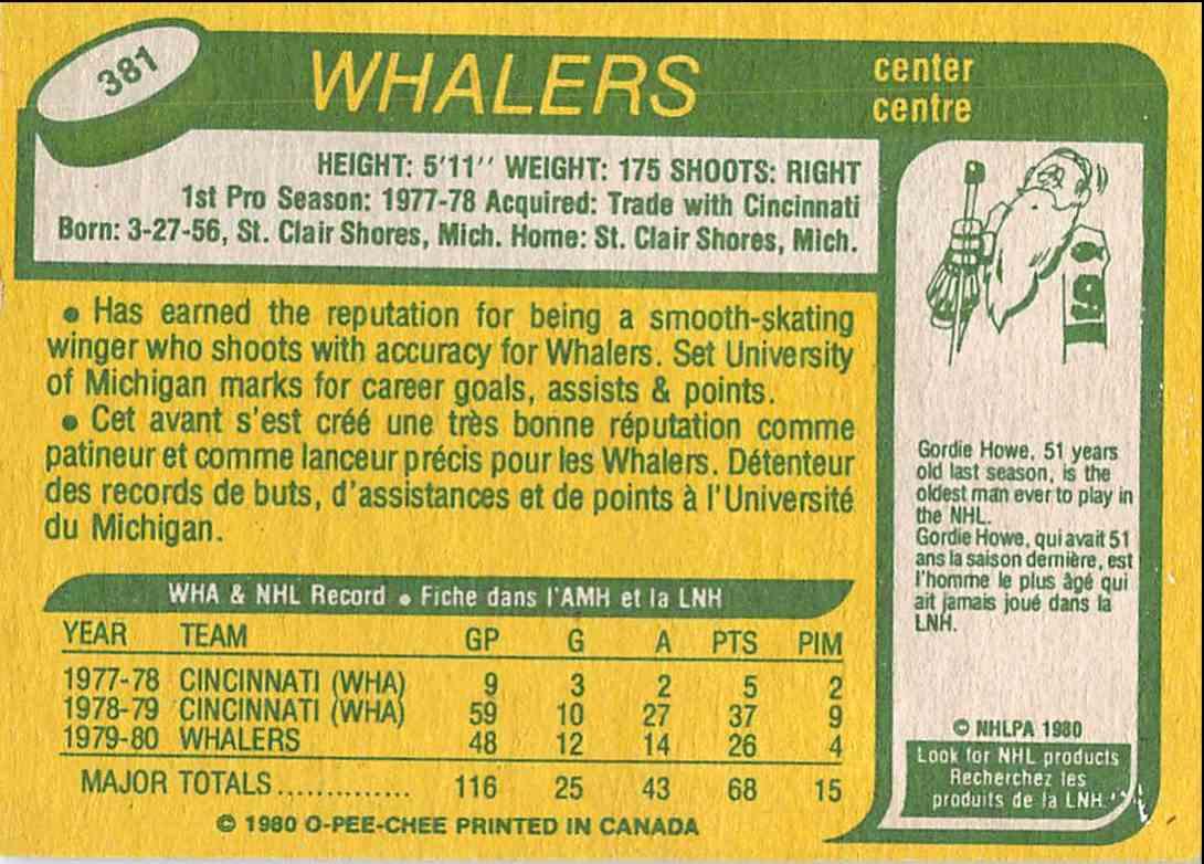 1980-81 O-Pee-Chee Dave Debol #381 card back image
