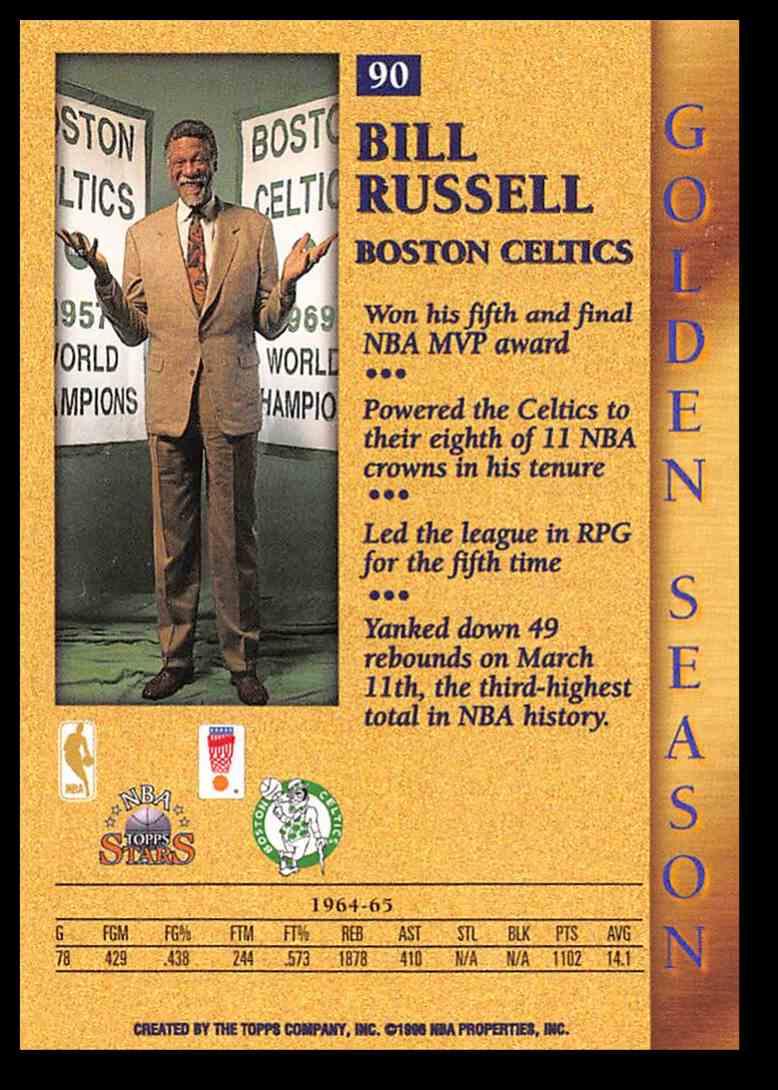 1996-97 Topps Topps Stars Bill Russell #90 card back image