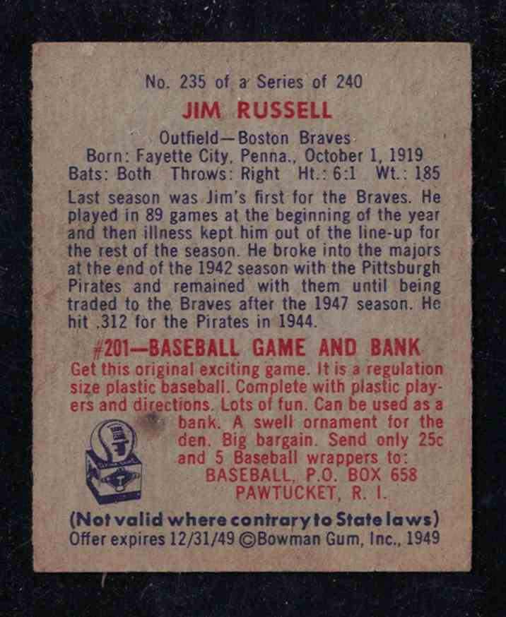 1949 Bowman Jim Russell EX-MT #235 card back image