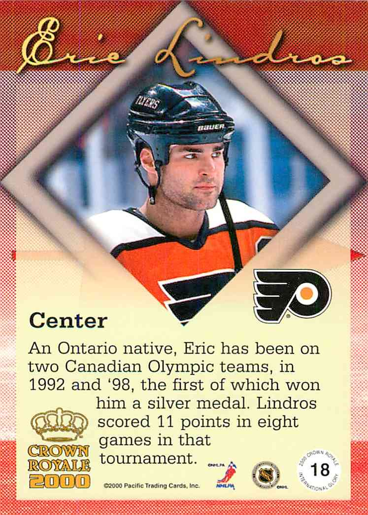 1999-00 Crown Royale Eric Lindros #18 card back image
