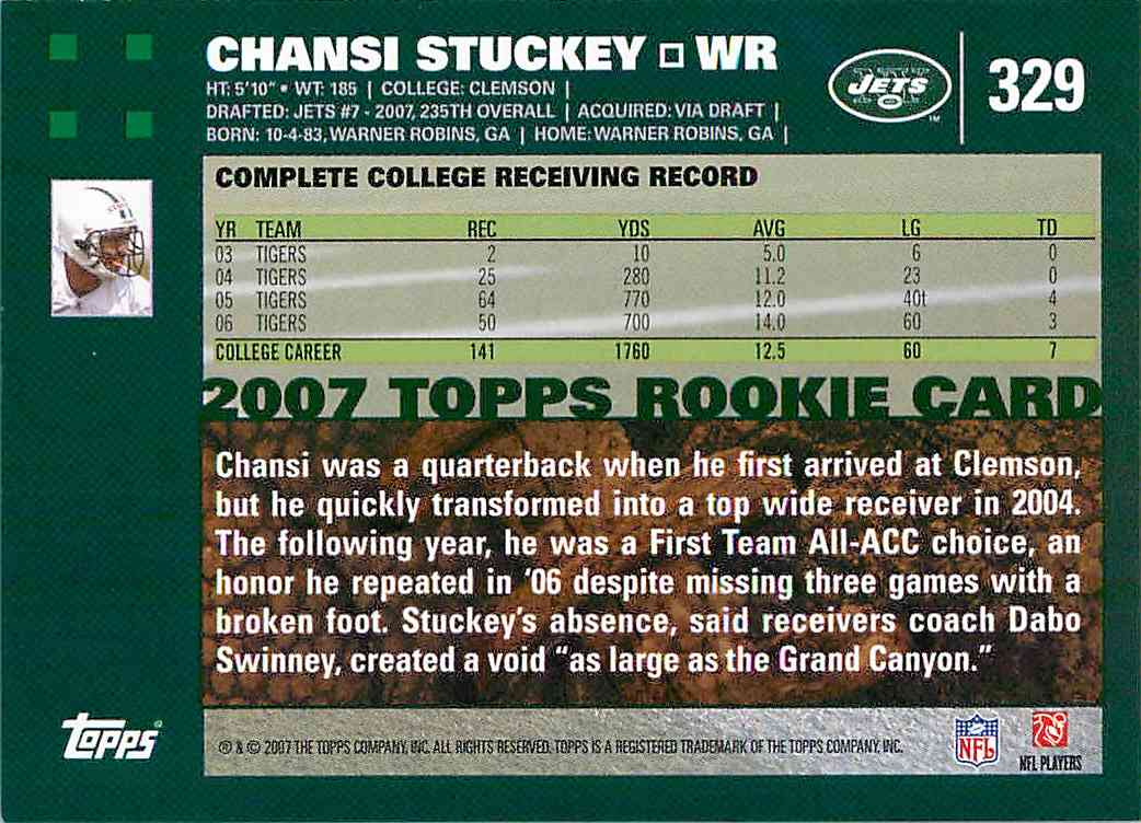 2007 Topps Chansi Stuckey #329 card back image