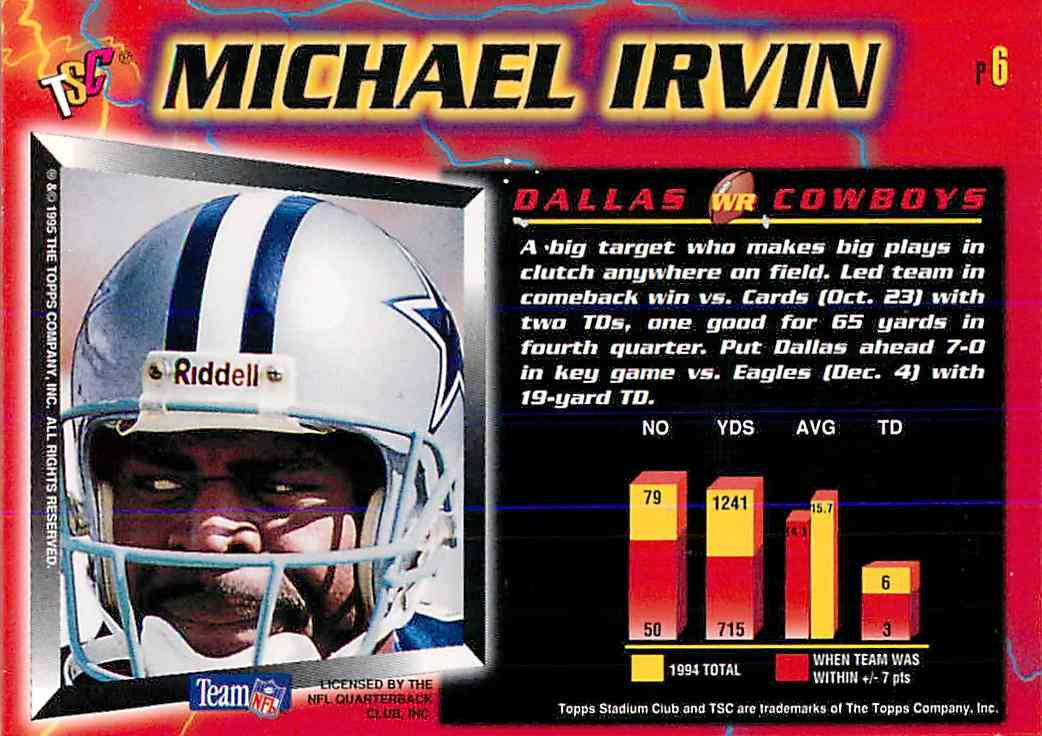 1995 Topps Stadium Club Michael Irvin #P6 card back image