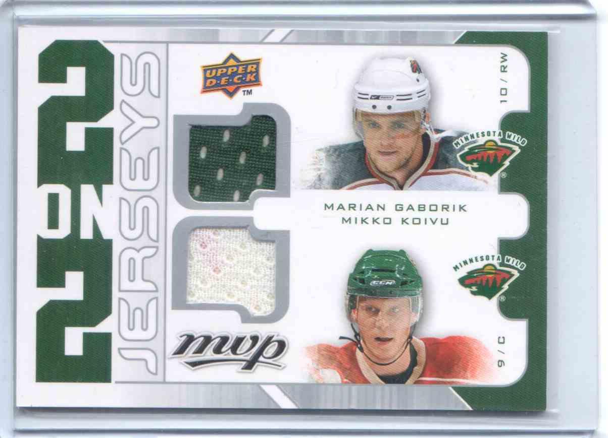 2008-09 Upper Deck MVP 2 On 2 Jerseys Marian Gaborik, Mikko Koivu #J2-KGBK card front image