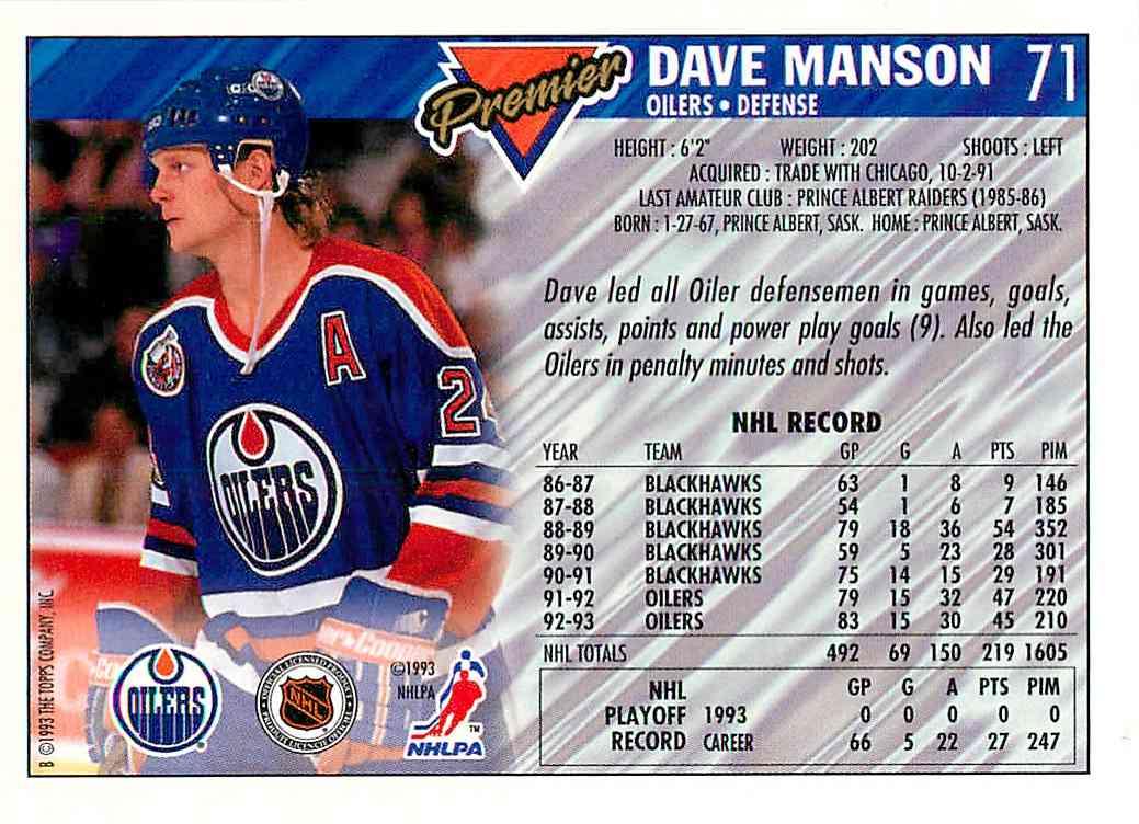 1993-94 Topps Premier Gold Dave Manson #71 card back image