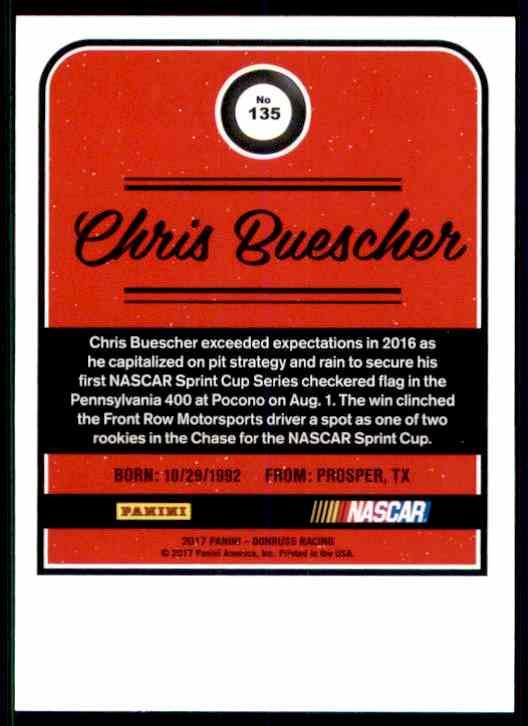 2017 Donruss Chris Buescher #135 card back image