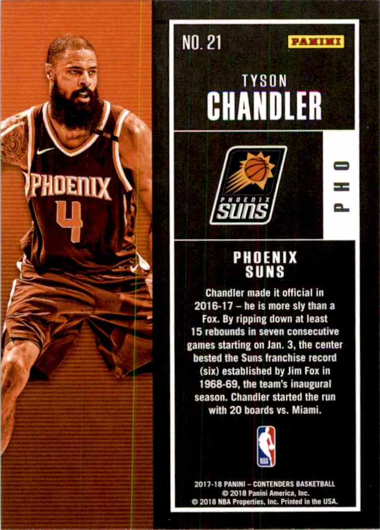 2017-18 Panini Contenders Base Tyson Chandler #21 card back image